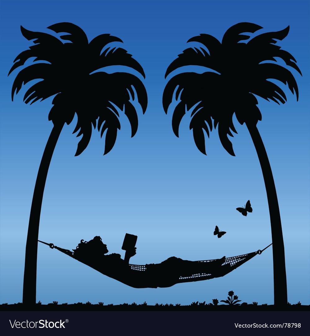 Woman in hammock vector | Price: 1 Credit (USD $1)