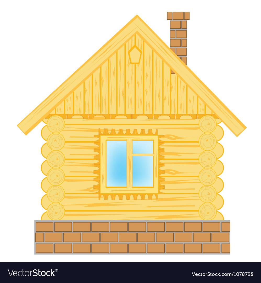 Wooden lodge on white vector | Price: 1 Credit (USD $1)