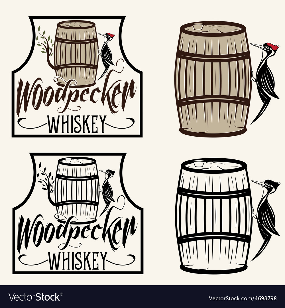 Woodpecker sitting on the barrel whiskey labels vector | Price: 1 Credit (USD $1)