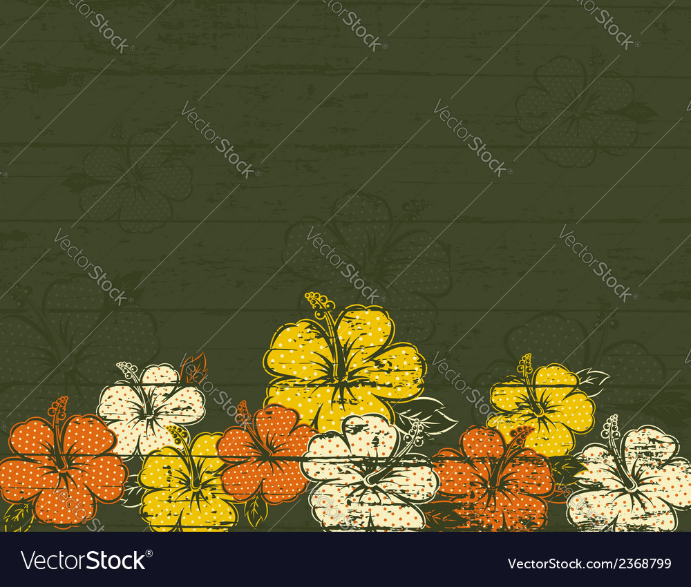 Bouquet of hibiscus on green background vector   Price: 1 Credit (USD $1)