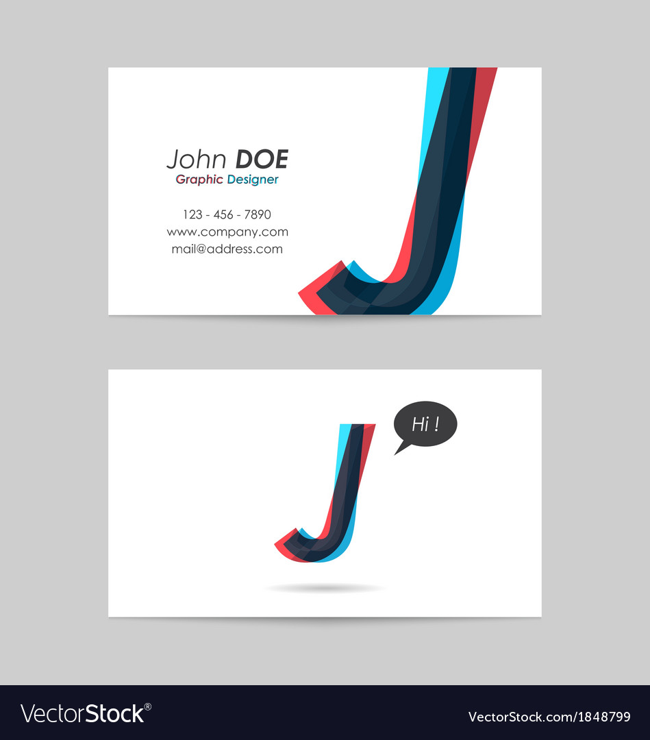 Business card template - letter j vector | Price: 1 Credit (USD $1)