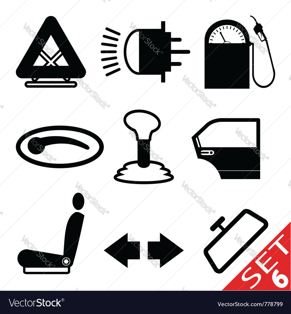 Car part icon set 6 vector | Price: 1 Credit (USD $1)