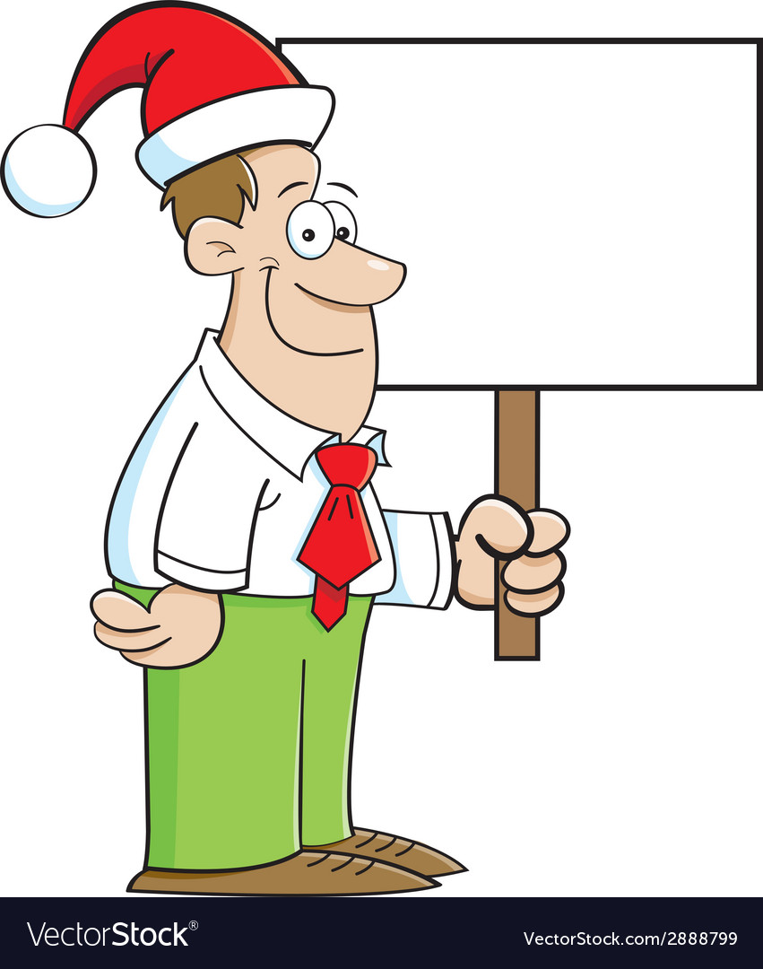 Cartoon man wearing a santa hat and holding a sign vector | Price: 1 Credit (USD $1)