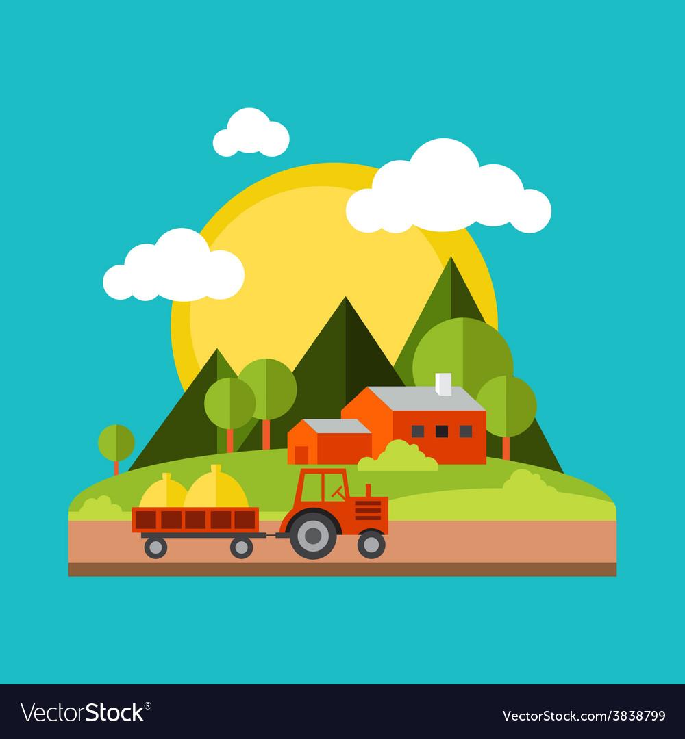 Color flat village landscapes vector | Price: 1 Credit (USD $1)
