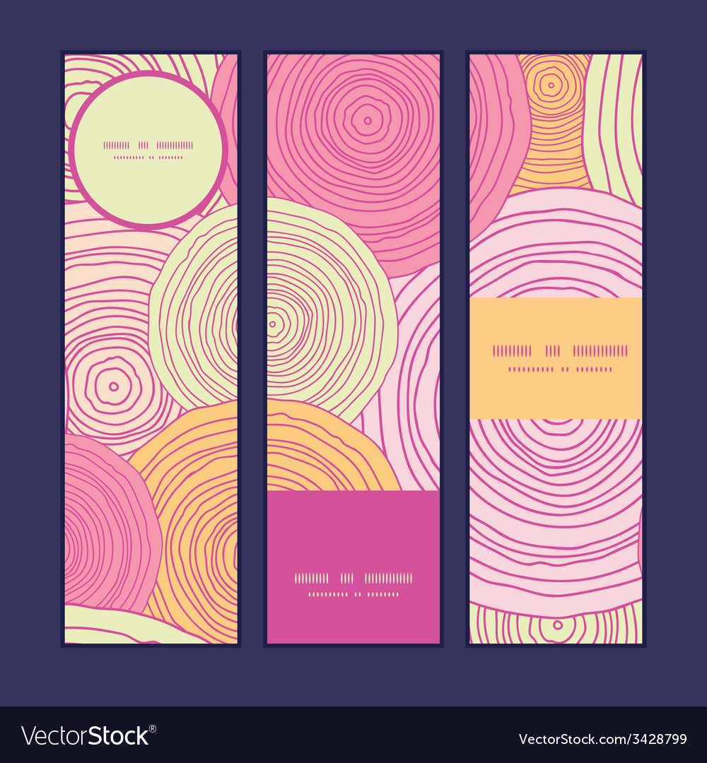 Doodle circle texture vertical banners set pattern vector | Price: 1 Credit (USD $1)