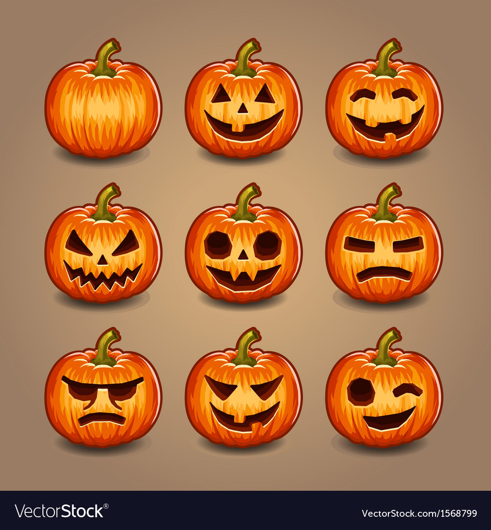 Halloween pumpkins set vector | Price: 1 Credit (USD $1)