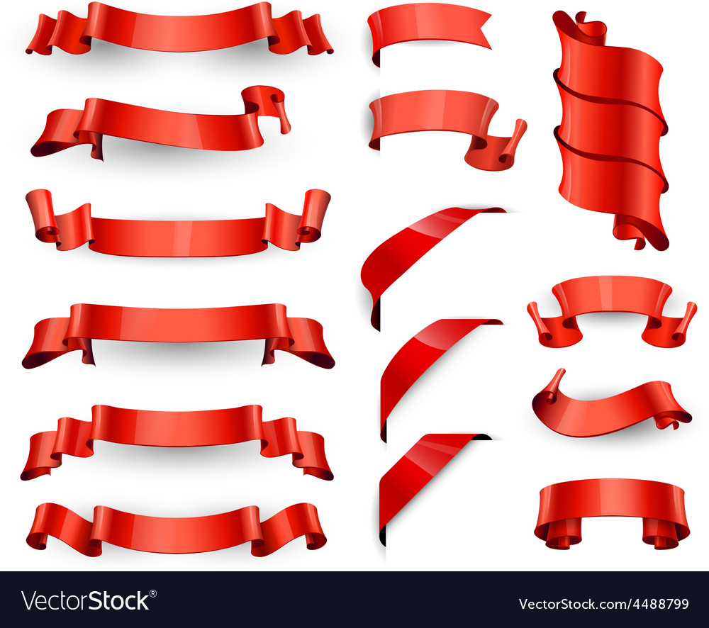 Realistic red glossy ribbons large set vector | Price: 1 Credit (USD $1)