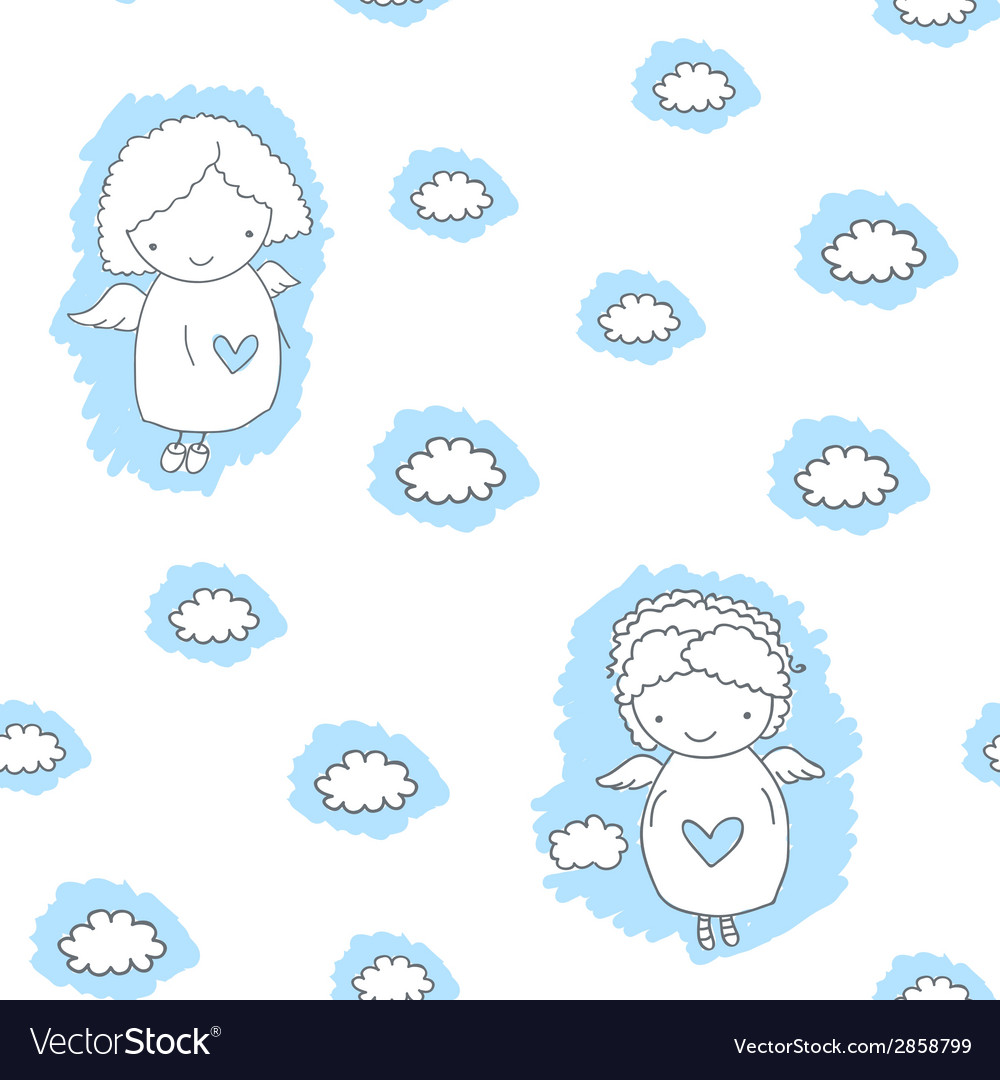 Seamless pattern with angels vector | Price: 1 Credit (USD $1)