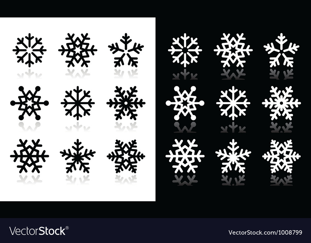 Snowflakes icons with shadow on black and white ba vector | Price: 1 Credit (USD $1)