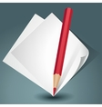 White paper with a red pencil vector