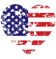 Grunge american flag heart background vector