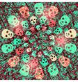 Creepy halloween background with skulls vector