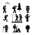 Hiking people icons vector
