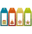Christmas labels with holiday decoration vector