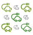 Set of hand-drawn green eco car icons collection vector