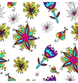 Art flower seamless pattern on the background vector