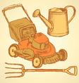 Sketch gardening set in vintage style vector