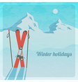 Retro with snowy mountains and skis vector