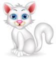 Cute white cat cartoon vector