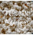 Blurred background with popcorn and label design vector