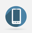 Smartphone circle blue icon with shadow vector