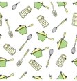 Seamless cute pattern with kitchen items vector