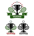 Big tennis sporting emblems vector