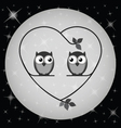 Owl heart moon vector
