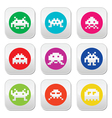 Space invaders 8-bit aliens round icons set vector