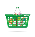 Nature basket with butterfly vector
