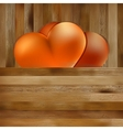 Two hearts on brown wooden background  eps8 vector