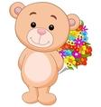 Cute bear cartoon holding flower bucket vector