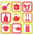 Set of 9 retro icons of kitchen utensils vector