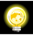 Yellow world light bulb vector