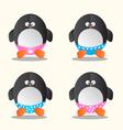Penguin in different underwear cartoon vector