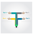 Creative template with pencil ribbon banner vector