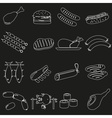 Meat food outline icons and symbols set eps10 vector
