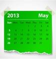 2013 calendar may colorful torn paper vector