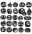 Silhouettes of halloween pumpkin vector