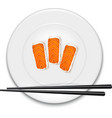 White plate with sushi and chopsticks vector
