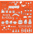 Hand drawn birthday party elements on orange vector
