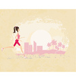 Jogging girl in city - abstract landscape vector