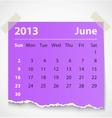 2013 calendar june colorful torn paper vector