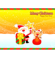 Decorated christmas card of santa claus and deer vector
