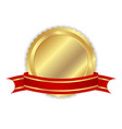 Golden label with ribbon vector