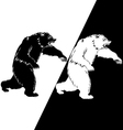 Bear silhouette black and white vector