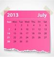 2013 calendar july colorful torn paper vector