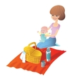 Mother with baby on a picnic vector