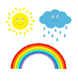Cartoon sun cloud with rain and rainbow set isolat vector