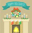 Christmas fireplace vector